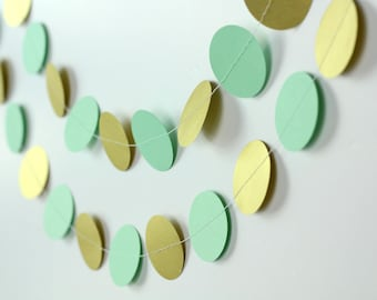 Mint and Gold Garland - Mint Paper Garland - Gold and Mint Wedding Decor - Mint Baby Shower Decoration