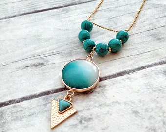 Turquoise necklace, Bezel set, Round gemstone necklace, Agate necklace, Boho necklace, Summer necklace, Unique necklace, Gift, Gold necklace