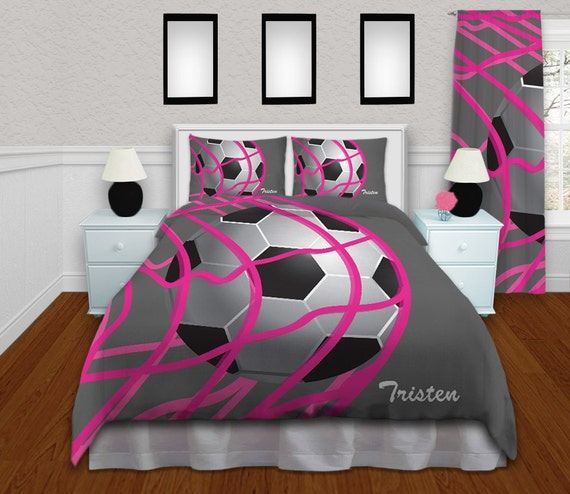 Girls Soccer Bedding   Comforter Grey U0026 Pink   Soccer Bedding   Kids Sports  Personalized, King, Queen/Full, Twin #268