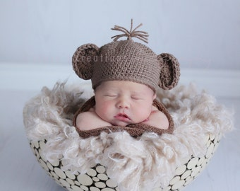 Crochet Baby Hat, Baby Monkey Hat, Baby Animal Hat, Baby Photo Prop, Baby Coming Home Hat, Baby Boy Hat, Newborn Girl Hat, Brown Baby Hat