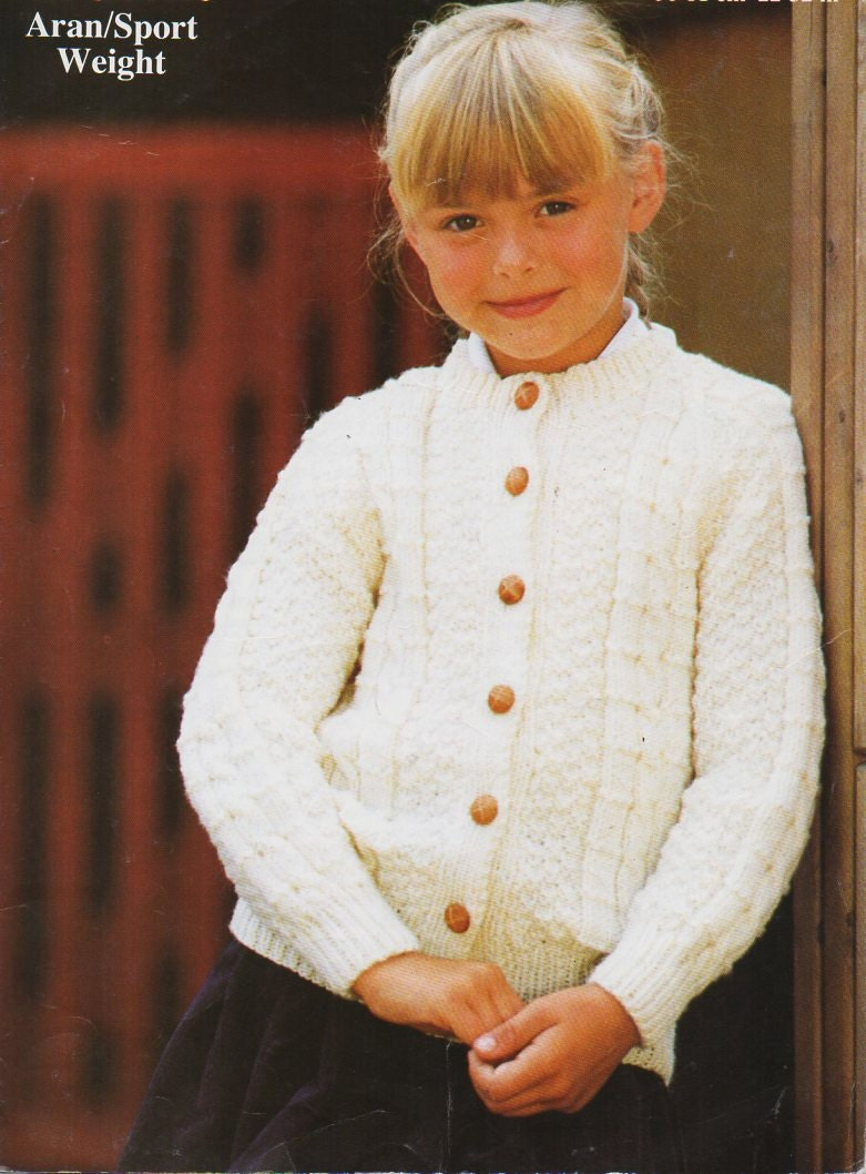 baby / childs / childrens aran cardigan knitting pattern PDF aran ...
