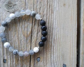 Essential oil diffuser bracelet yoga bracelet mala beads meditation beads yoga beads grey agate frosted howlite picture jasper lava beads