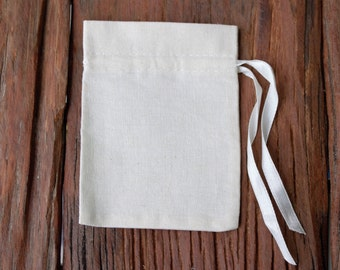 50 pcs 3x4 Muslin cotton drawstring bags with ribbon gift pouch jewelry packaging mini pouches drawstrings 3.5 x 4.5 inch favor bags pouches