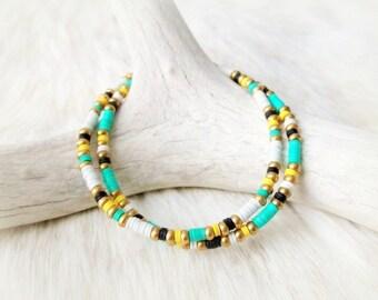 Tribal Bracelet Beaded Friendship Bracelet African Vinyl Bracelet - Green & Yellow - Boho Jewelry Tribal Jewelry Bohemian Jewelry Hippie