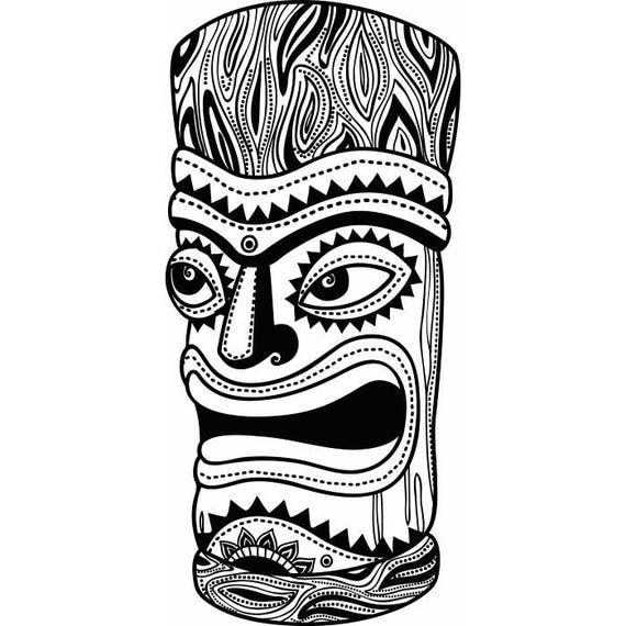 tiki totem pole polynesion hawaiian carved wood svg eps jpg rh etsystudio com hawaiian totem pole clipart totem pole face clipart