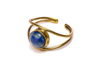 Lapis Lazuli Adjustable Gemstone Brass ring, Handmade, Boho Rings, Gift Boxed + Gift Bag , Free UK Delivery