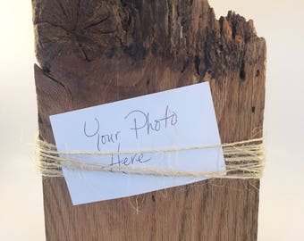 Barn wood with burlap twine photo holder