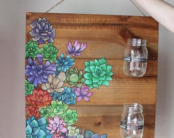 Original Wood Painting with Mason Jars- Colorful Succulents