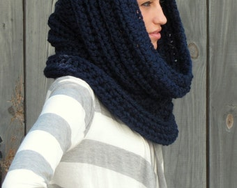 Chunky Cowl Hooded Cowl Chunky Scarf Soft Wool Snood Womens Crochet Scarf Handmade Noni Tunnel Cowl Navy Blue or Choose Your Color