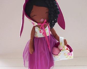 Easter Doll, Dress Up Doll, Dark Skin Doll, Easter Gift