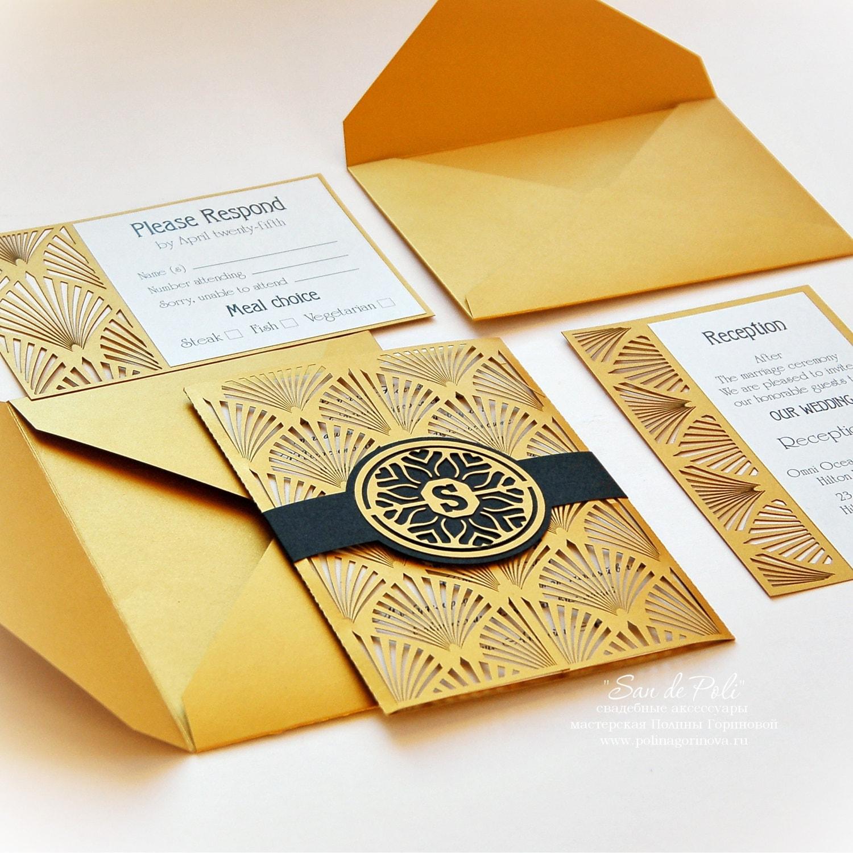 Wedding invitation Card Set Template Retro Vintage Art Deco