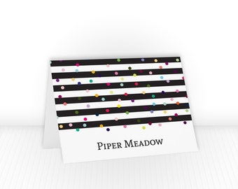 Custom Stationery Set Gifts for Kids, Folded Note Cards, Polka Dot Stationary Personalized Gifts for Her, Striped Notecards Gifts for Him
