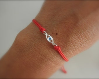 Sterling silver evil eye cord bracelet with a touch of enamel -choose your favorite color-