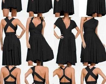 Black Infinity Dress  short straight hem Bridesmaid  dress with matching tube top
