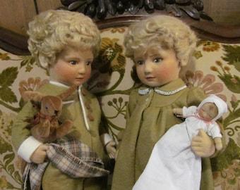 Boy and Girl Twins Felt Dolls Twins Lindsey and Michael Felt Doll Vintage R John Wright Dolls Limited Edition Doll Mohair Dolls Rare Dolls