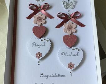 Handmade Personalised Boxed Card Wedding Engagement Anniversary Dusky Pink