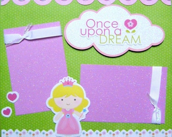 Scrapbook Layout Kit 12x12 Premade 2 Page Girl Princess Scrapbooking Pages Cinderella