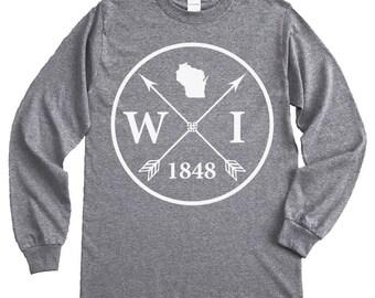 Homeland Tees Wisconsin Arrow Long Sleeve Shirt
