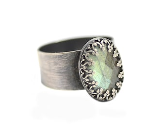 Labradorite and Sterling Silver Ring. Humble Beginnings Ring. Wide Band Sterling Ring Size 8.5. Aurora Borealis Ring. Northern Lights.