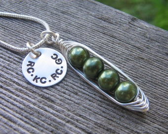Mothers Necklace • Necklace for Mom • Custom Necklace • Personalized Mothers Necklace • Peas in Pod • Gift for Mom • Custom Mothers Necklace
