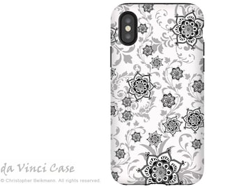 Black and white Paisley iPhone X Tough Case - Floral Art Apple iPhone 10 Cover - Dual Layer Protection by Da Vinci Case - Victoriana