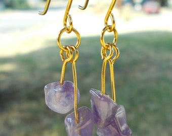 Amethyst Nugget Dangle Earrings