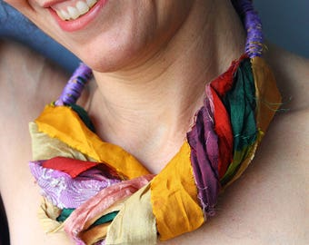 Fabric necklace from silk sari ribbons, short colrful necklace, boho textile necklace, gift for her