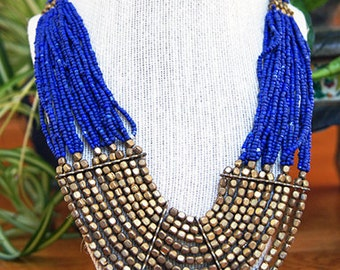 Tribal blue and antique gold beads necklace