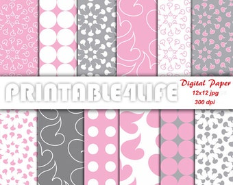 Gray Pink Paper, Digital paper pack, dot, floral, background patterns, Scrapbooking, Craft paper, Personal Or Commercial Use (a14)