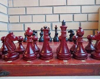 Antique wooden chess set USSR, old vintage soviet chess 50s red black chessmen