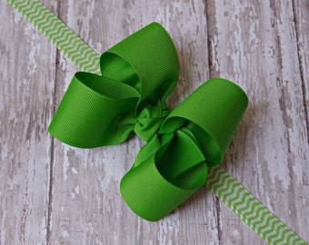 Boutique Apple Green Headband Chevron Elastic Toddler Hair Bow Bowband Apple Green Headband Big Bow Headband New Baby Gift