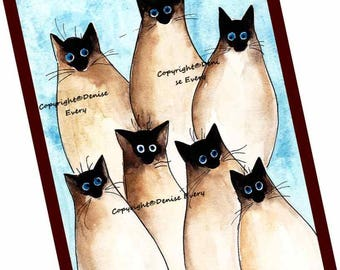 Seven Silly Siamese Kitties Siamese Cat Art Art Print Siamese Cat Lover ACEO Cat Siamese Cat Gift Siamese Cat Lover Siamese Cat ACEO Print