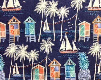 One Half Yard  of Fabric Material  - Beach Life, Tropical Fabric