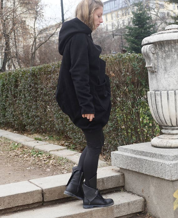 Cashmere Oversized Black Coat, Winter Asymmetrical Jacket, Extravagant Wool Coat, Loose Fit Hoodie, Hooded Wool Coat