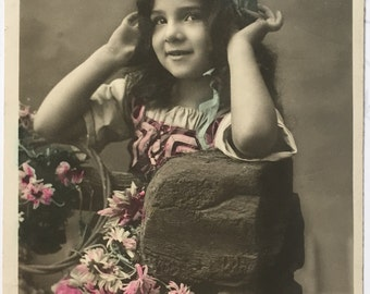 Antique Photography of brunette little girl with blue headscarf / 1900s French Postcard
