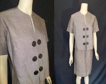 Black Fleck Vintage 1950's Women's ROCKABILLY Skirt Suit S M