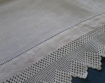 Vintage Irish Linen Huckaback Towel- Hand Crochet Borders