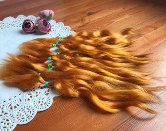 Combed Mohair locks 8-11 in orang colors doll hair reroot;wig;weft;custom;Blythe;Monster High;Bjd;Minifee;Msd;Sd;