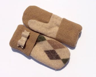 Felted Wool Mittens Green and Tan, Sweater Mittens, Fleece- Lined Mittens, Modern Wool Mittens, Eco Gift, Gift for Her