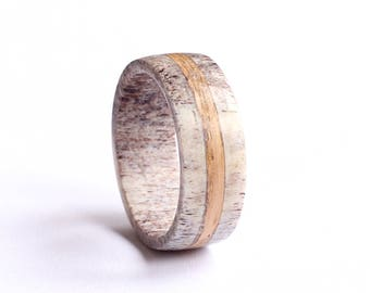 Oak Wood Ring, Mens Antler Wedding Ring With Oak Wood Inlay,  Deer Antler Wedding Band