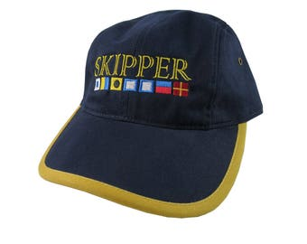 Nautical Signal Flags Skipper Embroidery on a Polo Style 5 Panel Adjustable Navy Blue and Yellow Unstructured Cap for the Boating Enthusiast