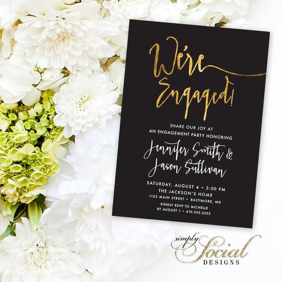 Calligraphy engagement party invitation faux gold foil like this item stopboris Images