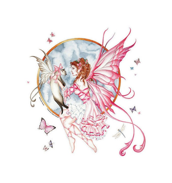 Nene thomas the gift fairy and cat and butterflies die cut sticker decal