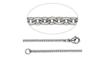 Cable Chain, 50cm or 20 inches with clasp, 2.2mm links