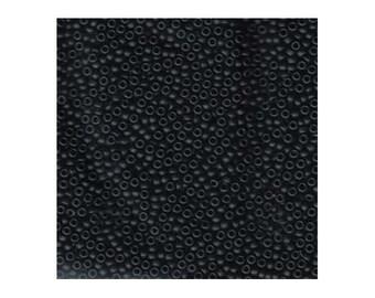 Miyuki Seed Beads 11/0 Matte Opaque Black 11-401F 24g, Round Seed Beads, Glass Seed Beads, Size 11 Seed Beads, Japanese Seed Beads