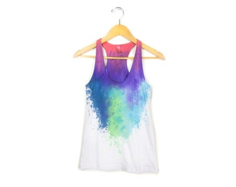 "SAMPLE SALE Berry Nebula Tank - Original ""Splash Dyed""Scoop Neck Terry Racerback Tank Top in White - Women's Size S"