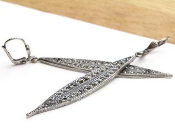 Long Marquise Shaped Leaf Style Swarovski Crystal Dangle Earrings, Long Silver Earrings