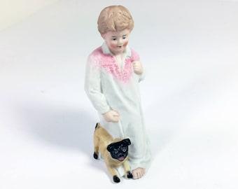 Gebruder Heubach Porcelain Bisque Figurine of Boy with Pug Dog/ Antique German Bisque Figurine/ Antique Heubach Figurine
