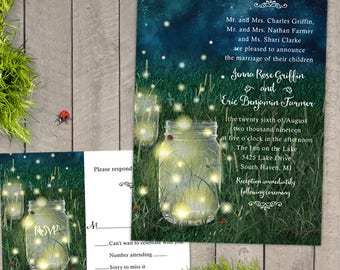Rustic Meadow Summer Night Mason Jar and Fireflies Wedding Set, Invitation and Reply Card; Printable, Evite or Printed (US Only) Invitations