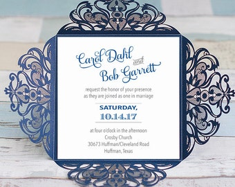 Laser Cut Wedding Invitations Square Wedding Die Cut Laser Cut Traditional Navy Wedding Invites Laser Cut